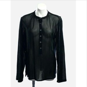 Vtg 90's Yves Saint Laurent YSL Black Sheer Shirt